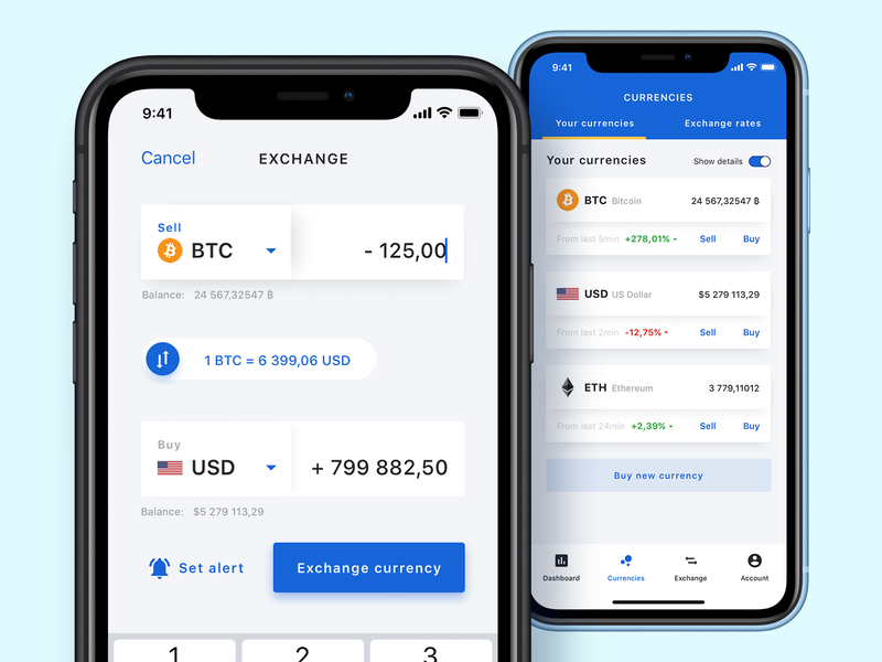 Currency & cryptocurrency exchange app ios ethereum bitcoin crypto wallet trading iphone x rate bank app money cryptocurrency app currency converter currency exchange crypto trading graph fintech crypto cryptocurrency charts mobile
