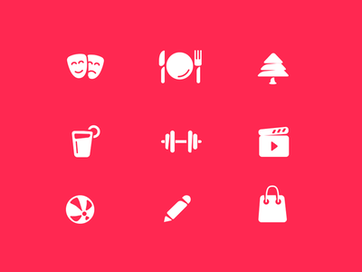 Icons Categories theatre restaurante parks drinks workout movies kids school shop icon set