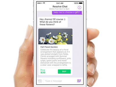 ResolveChat app mobile type card resolve commerce chat
