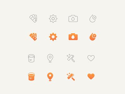Ink Icons catalog pin picker drop tabbar set icon bucket brush tint ink