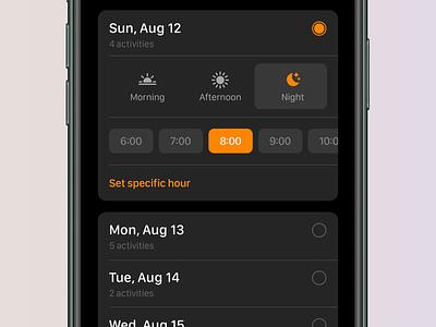Tripsy 2.0 - Date Picker calendar ios13 darkmode trip travel icons app ios