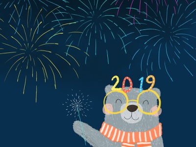 Happy New Year! 2019 character character design editorial kids design colourful photoshop design kidswear print cute character bear character new year bear illustration 2019