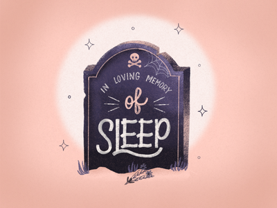 In Loving Memory of Sleep procreate illustration lettering spooky sleep gravestone halloween design typography graphic design