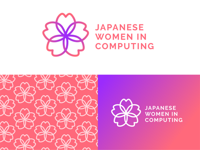 Japanese Women in Computing Logo logo design logotype adobe illustrator typography branding tech tech logo japanese japan sakura cherry blossom logo graphic design