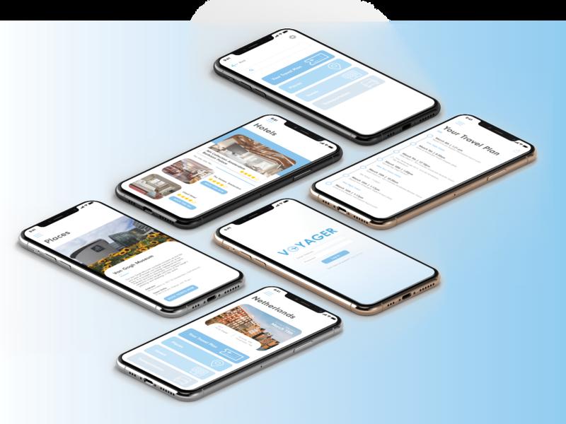 Voyager Travel App adobe xd travel app design ui design ux design graphic design