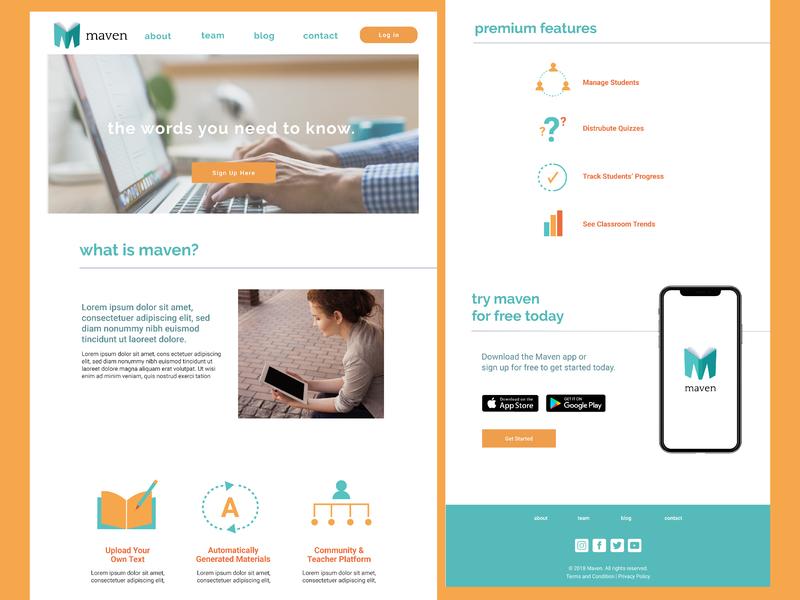 Maven Website landing page icon adobe illustrator branding web design graphic design
