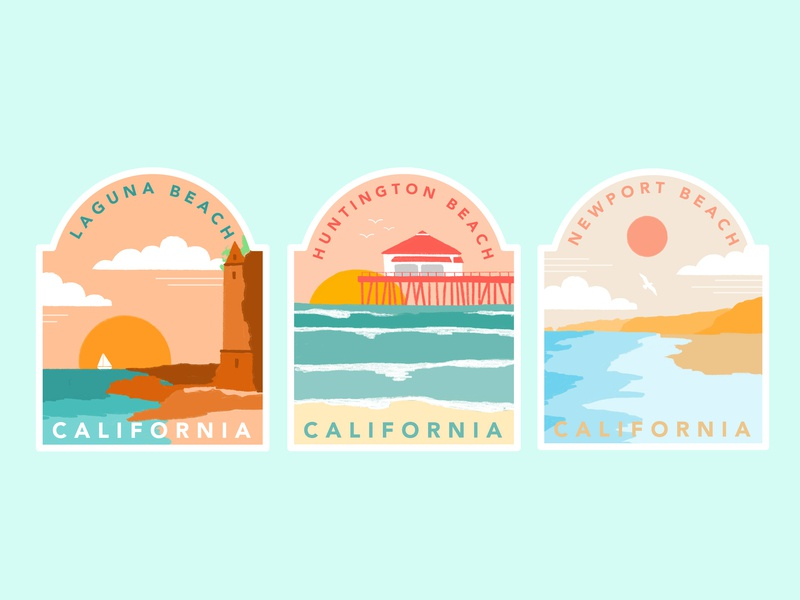 Southern California Beach Badges summer vector badges beach procreate adobe illustrator graphic design