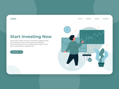 Investment Website Illustration concept ux ui statistic plant person investing invest green investment website modern illustration flat branding