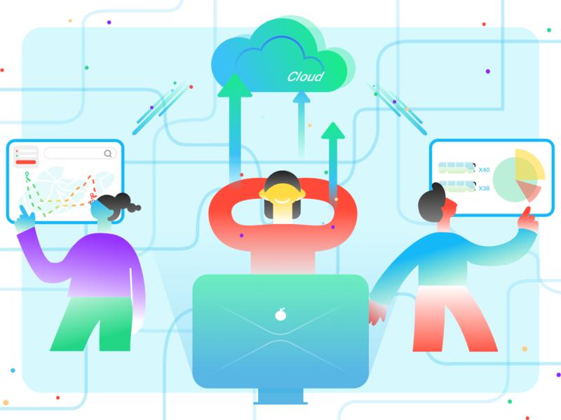 Saas of planning route cloud computer bus branding vector app brand work illustration ui route planning saas design