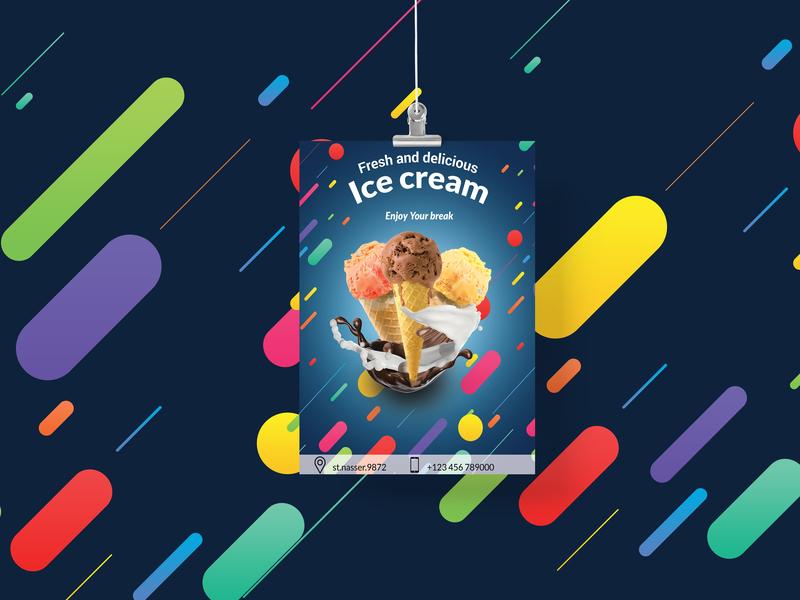 ice cream poster brochure photoshop branding design brand poster