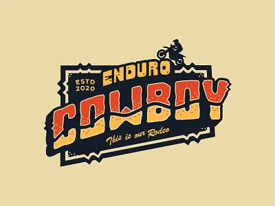 Enduro Cowboy Badge 90s southwest racing dirtbike enduro badge apparel branding