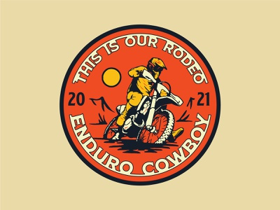 Enduro Cowboy southwestern enduro dirtbike illustration vintage apparel shirt branding