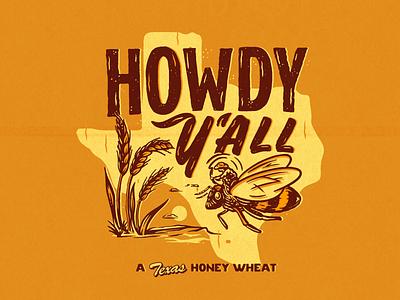 Howdy Y'all! wheat cowboy bee beer label beer can beer illustration vintage texas