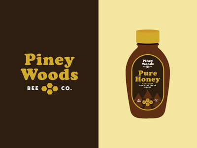 Piney Woods Bee Co camp packaging label honey texas logo branding