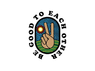 Be Good to Each Other badge sun hand cooper hippie peace print shirt