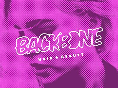 Backbone Hair + Beauty logo fashion salon halftone comic pop art edgy hair salon hair branding