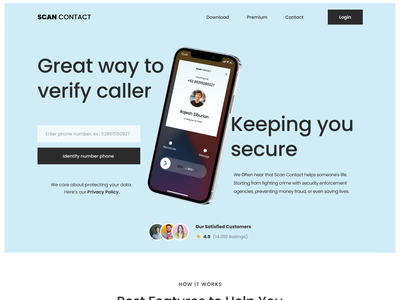 Scan Contact Landing Page startup modern fresh simple uiux uidesign ui landingpage secure phone telephone smart spam call identity scan contact