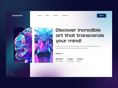 MindArt - NFT Marketplace Website yogyakarta uiux startup modern design uidesign exploration ui landingpage website marketplace nft art mind