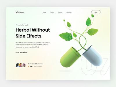 Medme - Header Web Exploration of Herbal Healthcare indonesia yogyakarta uiux simple cool landingpage header exploration modern design uidesign ui green drug health medicine herbal