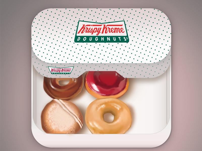 Krispy Kreme iOS Icon Concept ios icon apple iphone hand drawing digital painting illustration design food painting