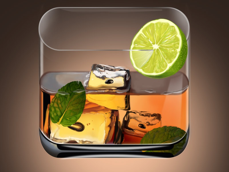 Cocktail iOS Icon ios icon apple digital painting sketch drink cocktail illustration