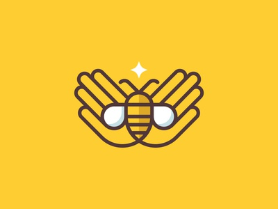 Bee Keep logo branding star hands honey bee