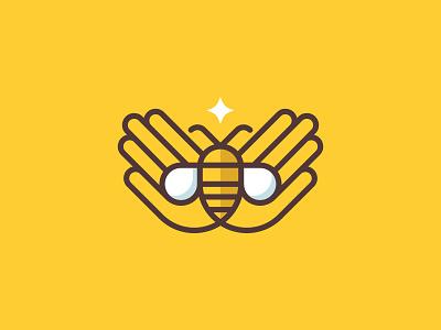 Bee Keep logo branding star hands honey bee