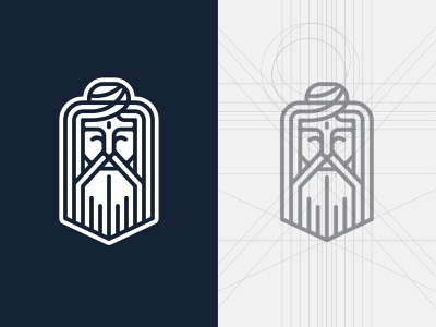 Yoga Master spiritual calm face master yoga lineart icon logotype line logo