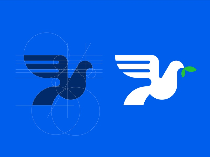 Dove bird logo construction guideline geometry grid animal dove