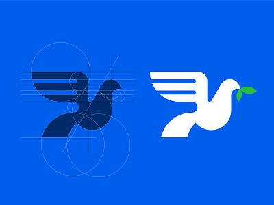 Dove bird logo construction guideline geometry grid animal dove