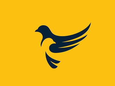 Under My Wings wing negative space bird design vector logo design branding icon logo