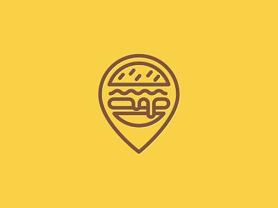 Burger Pin line icon location pin burger logo