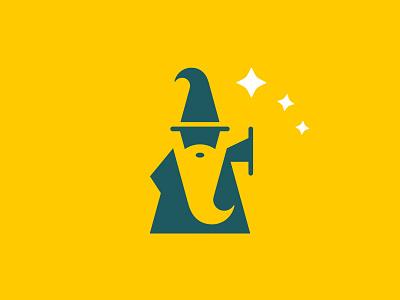 Wizard negative space graphic design brand identity logo design icon character illustrator vector branding mage wizard logo