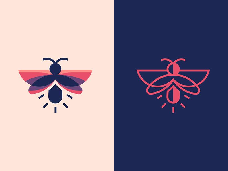 Firefly bulb line art bright unipen firefly illustration design logotype branding logo design line icon logo