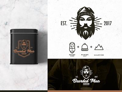 Bearded Man Coffee illustraion vintage vector logotype logo design icon logo coffeeshop coffee mountain winter hat bearded man man brand design brand branding