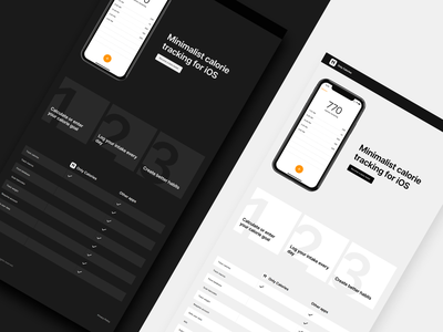 Only Calories landing page mobile app