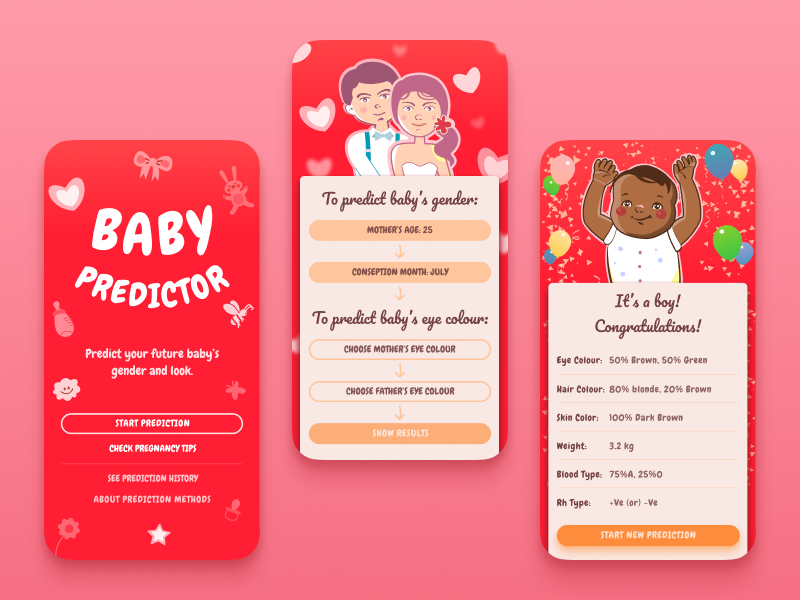 Baby Predictor ux baby illustration ui design