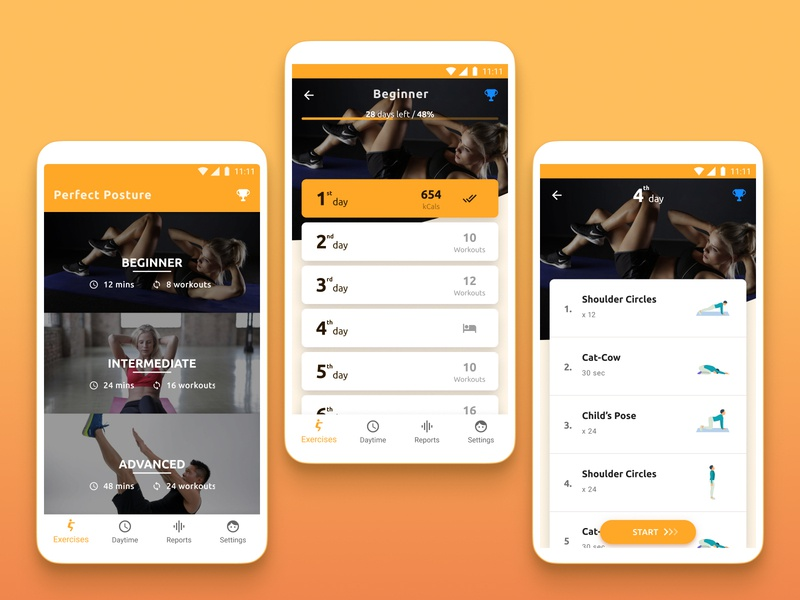 Fitness app for correcting posture posture health app health fitness app fitness design ux ui