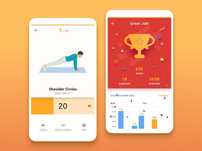 Fitness app for correcting posture - more screens