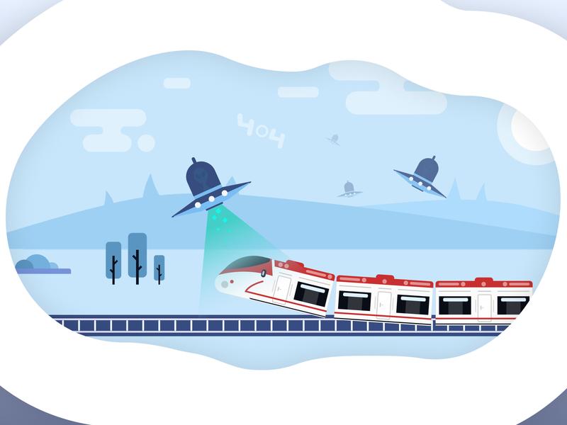 404 Page for Georgian Railway landscape 404 page 404 aliens railway illustration ux ui