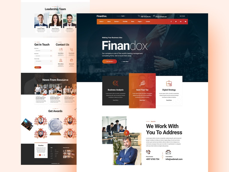 Finandox Business & Finance Website Design financial about testimonials footer service header comercial one page design landing page landingpage landing design ux ui website insurance finance business finandox