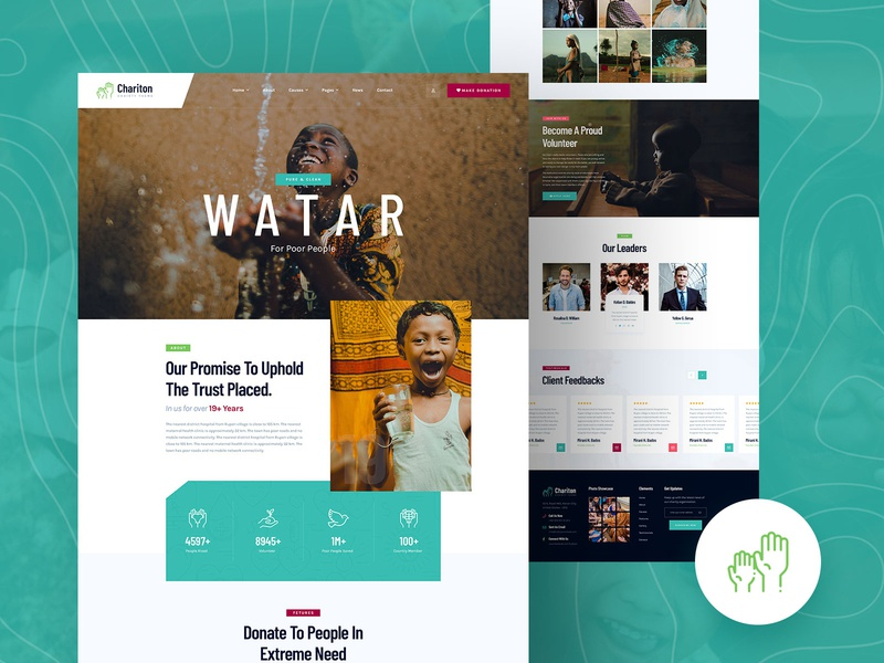 Chariton Charity & Fundrise Website Design fund team counter footer header funding crowdfunding fundraising app charity ui charity website website landing page landingpage ux ui charity event charity water fundrise charity