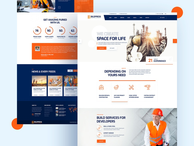 Buildpress construction and renovation website design constructor construction website ui design landingpage ux ui website construction company renovation construction