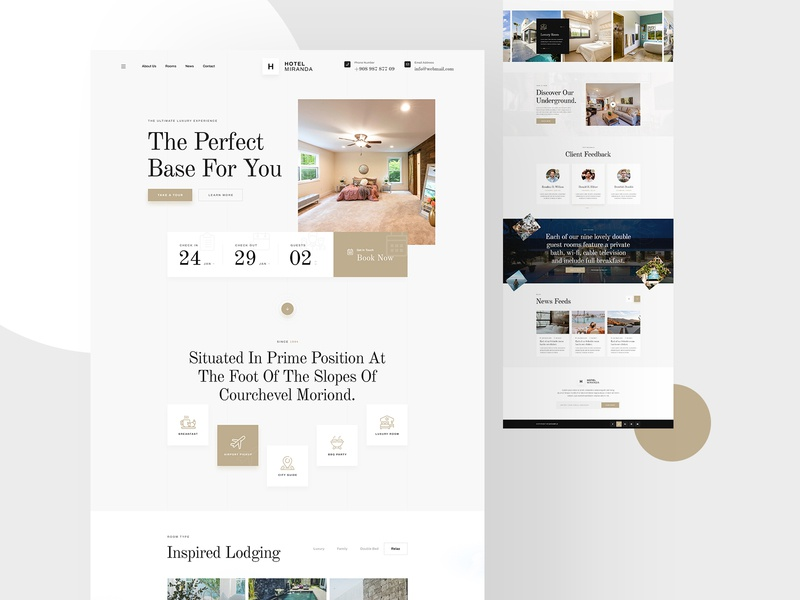 Miranda Luxury Hotel Website Design minimal luxurious service footer header multipurpose one page landing page landingpage ux hotel booking website booking website booking app ui app booking hotel booking hotel luxury miranda
