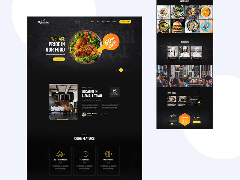Signature Restaurant & Booking Website Design theme header minimal dark trend app food app food hotel web design ui design landing page landingpage ux ui website booking restaurant signature