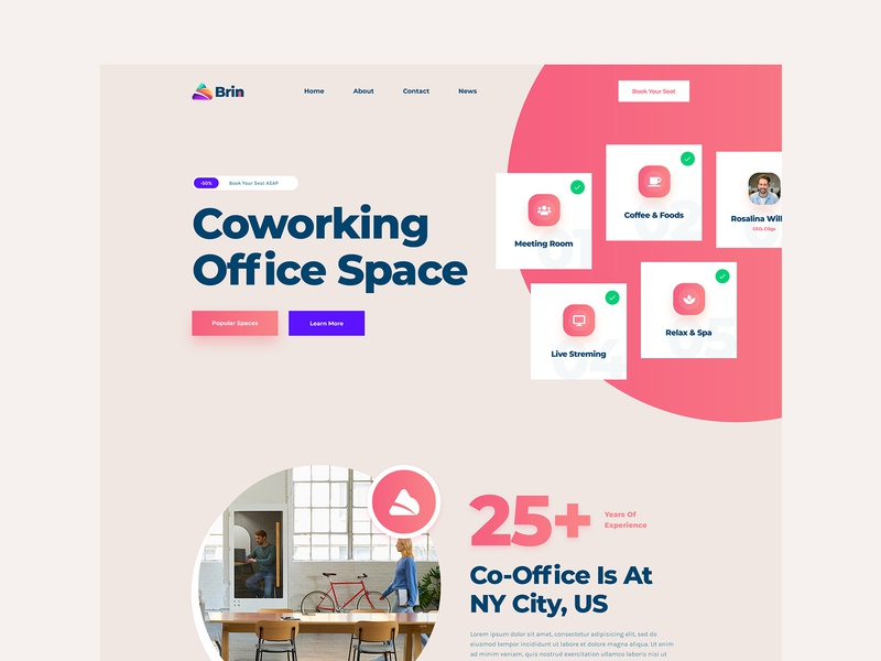 Brin Co-working Office Space gradient design ux ui service homepage brand identity ux design ui design landing page landingpage co work office brand co-working office co working branding brin