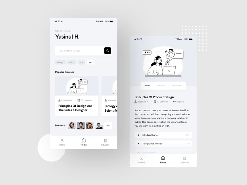 Online Learning Course Mobile App Design (WIP) courses minimal online concept e-learning product product design learning platform mentor ux design ui design ux ui online learning platform online learning online learning app course online store