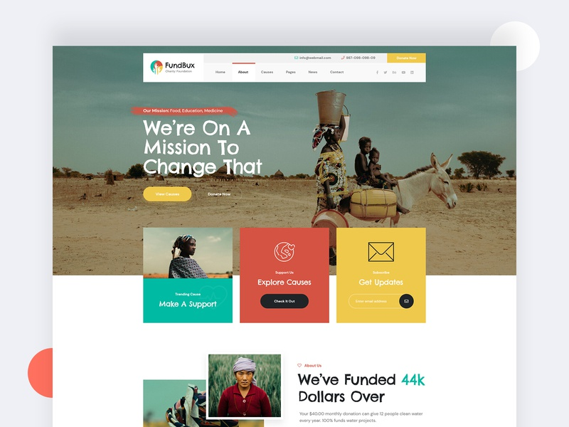 Funbux Charity & Fundraise Website Design colorful service footer minimal website header landingpage fundraising charity ui charity app fund website ux design ui design ux ui charity charity website funding fundraise fundbux