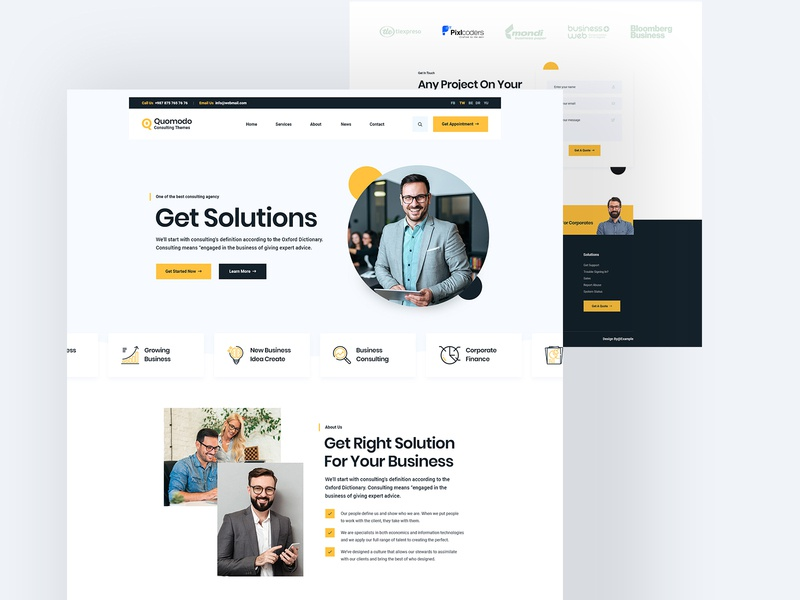 Quomodo Consulting Website Design fixed business development counselling landing page ux design ui design service footer header landingpage ux ui website consulting website consulting firm consulting quomodo