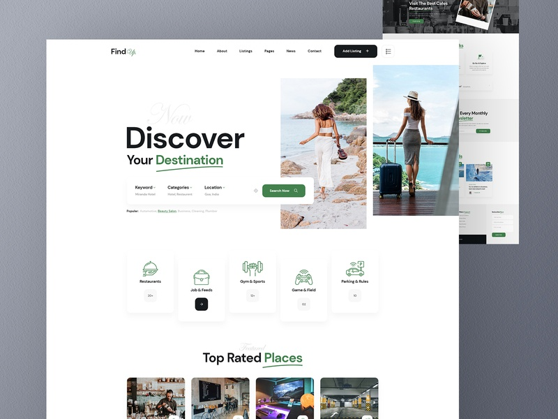 Findup Directory Listing Website Design features service minimal footer header directory listing find location find job directory app landingpage ux design ui design ux ui website listing directory findup